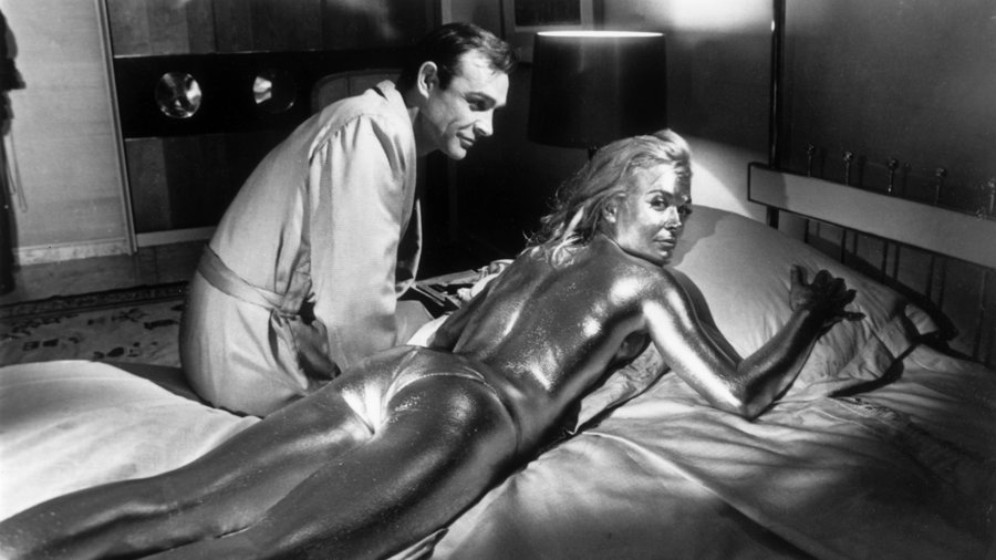 Image: Sean Connery & Shirley Eaton on the set of Goldfinger (1964)